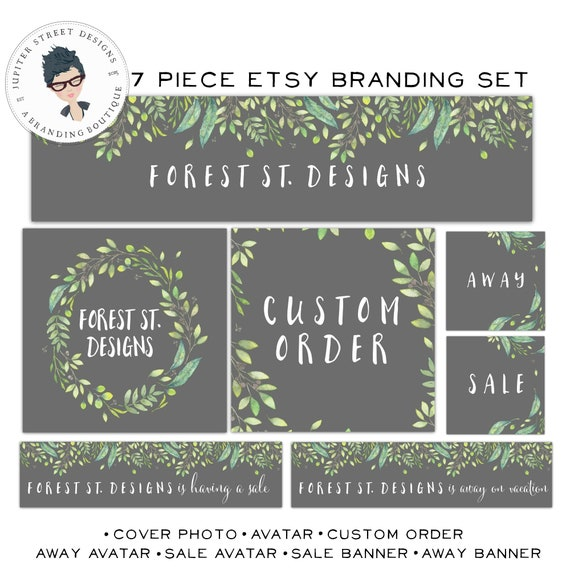 Flower Etsy Shop Set-Forest Etsy Set-Branch Etsy Set-Nature Etsy Set-Etsy Branding-Leaf Etsy Set-FREE font change