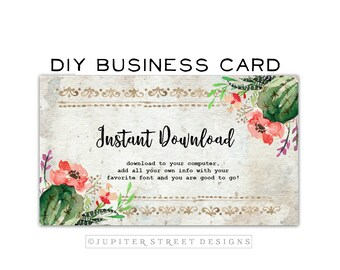 Business Card Design-Cactus Business Card-Desert Business Card-DIY Business Card-Business Card Template-INSTANT DOWNLOAD