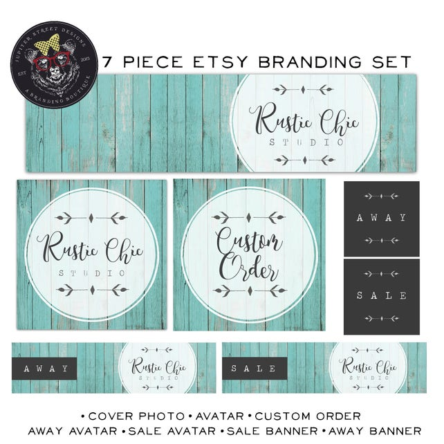 Wood Etsy Shop Set-Rustic Etsy Set-Branding Package-Made to match items available