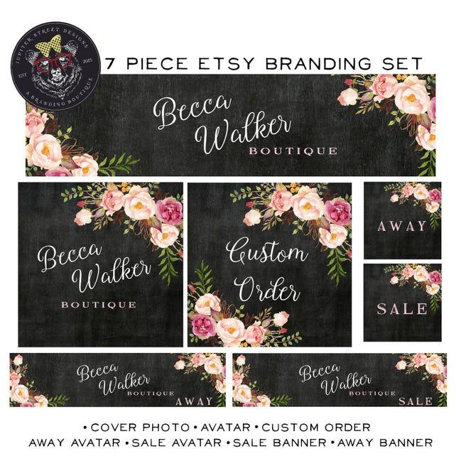 Chalkboard Etsy Set-Flower Etsy Shop Set-Rose Etsy Set-Branding