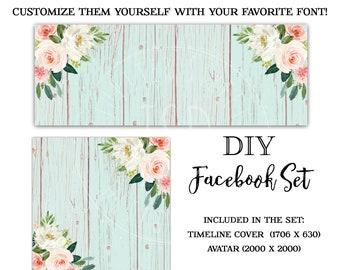 DIY Facebook Set-Wood Facebook Timeline cover-Instant Download