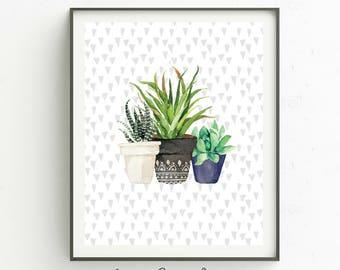 Cactus Art Print-8 x 10 INSTANT DOWNLOAD-Wall Art-Succulent Art Print-Wall Art-Modern Home Decor