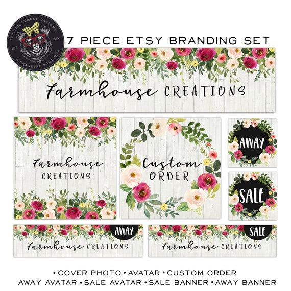 Etsy Shop Set-Wood Etsy Banner Set - Flower Etsy Set-Rustic Etsy Set-Branding
