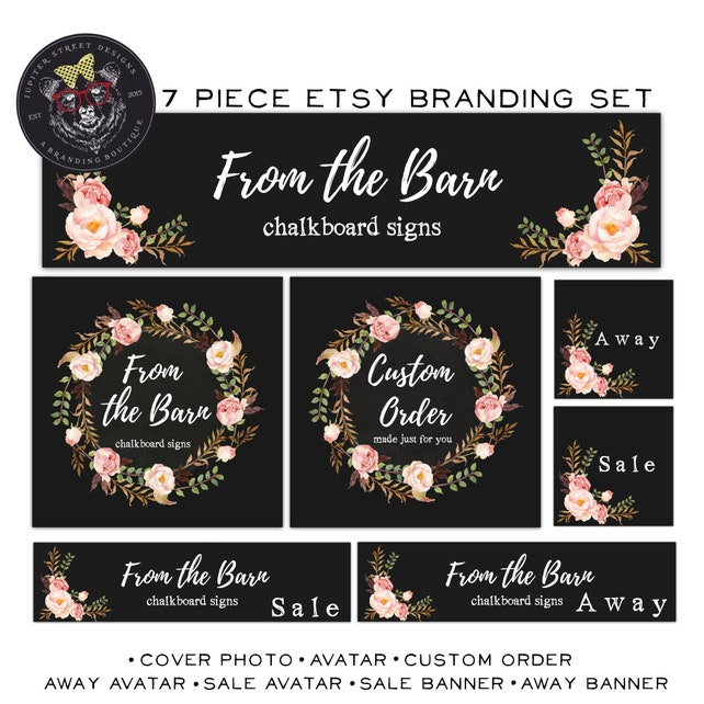 Chalkboard Etsy Set-Flower Etsy Shop Set-Rustic Etsy Set-Branding