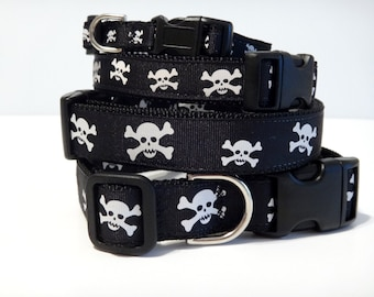 Adjustable Dog Collar- Skull and Cross Bones Dog Collar - Small or Large Halloween Dog Collar in Black and White