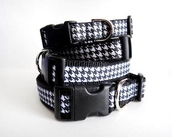 Dog Collar - Girl Houndstooth Dog Collar - Small Dog Collar - Large Dog Collar - Adjustable  Dog Collar - Black and White Dog Collar