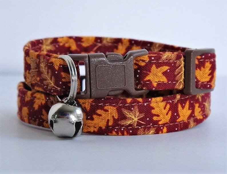 Autumn Cat Collar  Fabric Kitten Collar with Fall Leaves  image 0