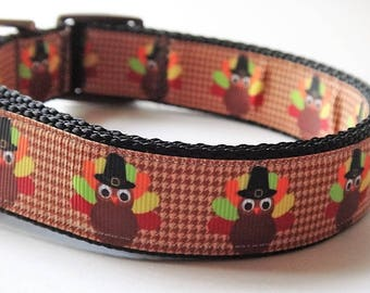 Thanksgiving Dog Collar & (optional) Leash with Turkey Design - Medium or Large Dog Collar -  Brown Colorful Dog Collar