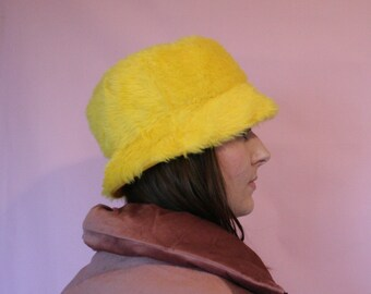3d4b0e38d0a Yellow faux fur bucket hat with yellow satin lining - unisex