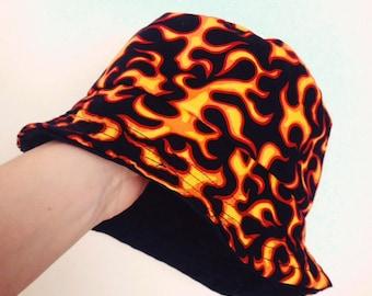Fire   flame print bucket hat - unisex - festival a2adda7c9a5