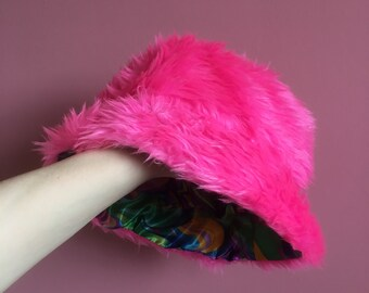 4ae3945c50d Neon pink faux fur bucket hat with psychedelic satin lining - unisex