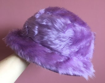 fe7839a24e6 Lilac faux fur bucket hat with lilac satin lining - unisex