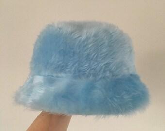 d7df3ceb2e8fc Baby blue faux fur bucket hat - unisex