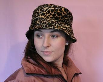 Faux leopard fur bucket hat - unisex - festival 9612e646d4e