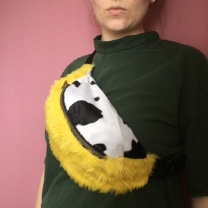 Yellow   cow print fluffy festival bum bag   fanny pack (adjustable) 683d08c082757