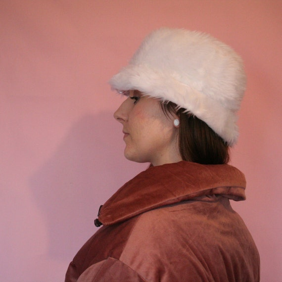 dde17998e25 White faux fur bucket hat unisex