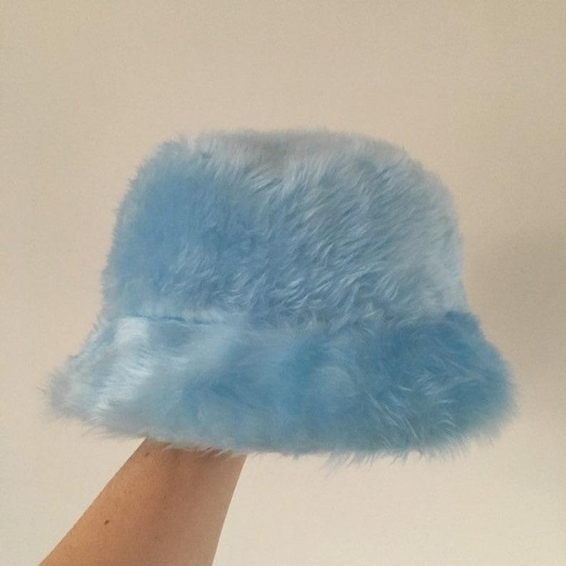 27e28005a300c Baby blue faux fur bucket hat unisex | Etsy