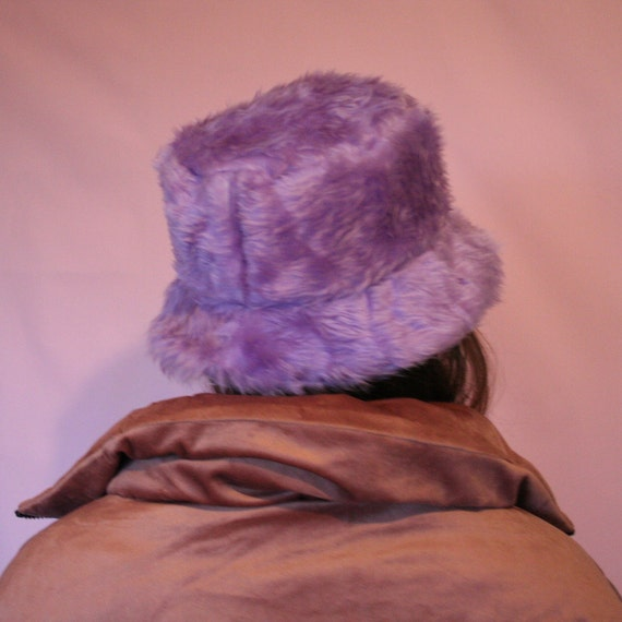 17de713e15f Lilac faux fur bucket hat with lilac satin lining unisex