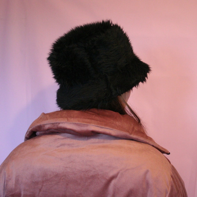 7ee711a061c3f Black faux fur bucket hat unisex