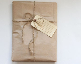 Gift Wrapping Add On // Brown Paper Package with String