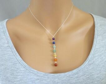 Chakra Necklace, Chakra Pendant, 7 gemstone chakra jewelry  necklace, yoga necklace, Sterling Silver Chakra necklace