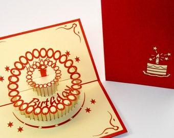 Happy Birthday Card - Handmade Birthday Card - Happy - Cake