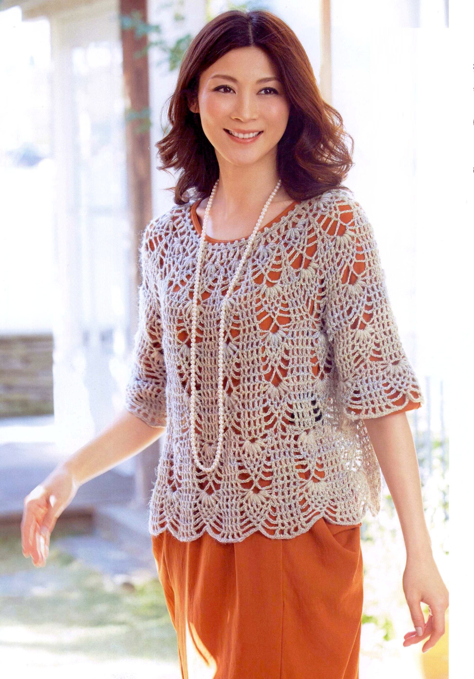Womens Crochet Top Pattern Pdf Japanese With Etsy Patterns Diagram Charts Ladies Jumper Pullover Yoke Sweater Instant Download 473