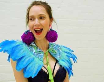 Flyaway Cape Blue, animal print, Glastonbury, Burning Man, Secret Garden Party, Rainbow, Eclipse festival, festival wear, feather cape