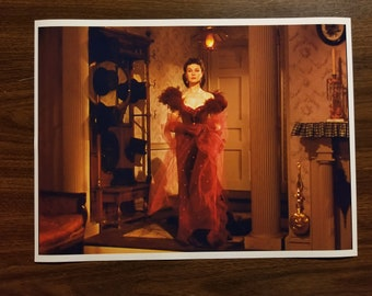 """Gone With The Wind Movie Poster 12"""" x 16"""" Scarlett O'Hara Red Dress South Civil War Clark Gable Romance Lovers Girlfriend Gift"""