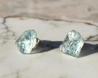 Raw Aquamarine Stud Earrings, Aquamarine Earrings, Crystal Earrings, Stud Earrings, Raw Stone, March Birthstone, Stone Earrings