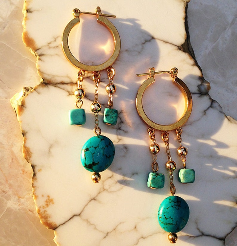Gold Hoops Turquoise Earrings Valentine/'s Day Gift Turquoise Beads Hoop Earrings Turquoise Jewelry
