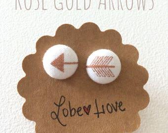 Rose Gold Arrow Fabric Earrings