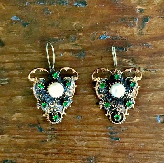 Art Nouveau Butterfly Pearl Earrings ~ Pearl Earri
