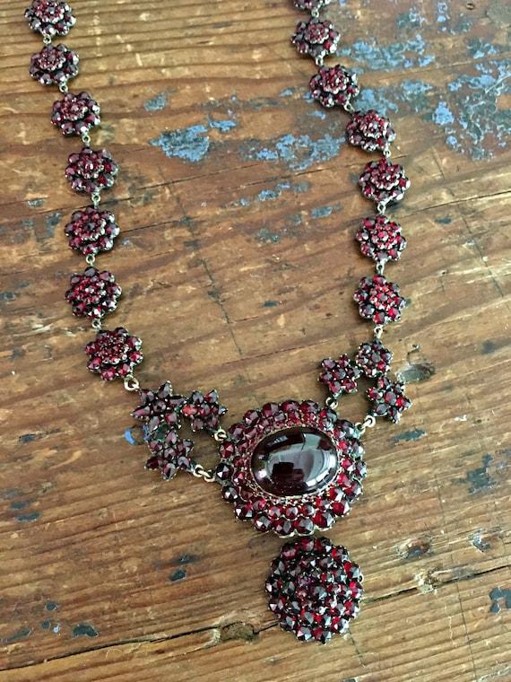 Victorian Bohemian Garnet Necklace ~ Antique Garne