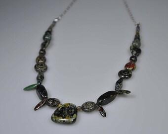 Handmade beaded necklace with Czech glass beads | Glass necklace | Earth necklace | Boho necklace