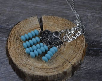 Handmade chandelier necklace with blue glass beads | Aztec necklace | Glass beads necklace | Chandelier necklace