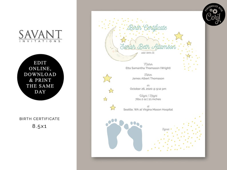 photo about Birth Certificate Printable called Delivery Certification - Printable Certification of Delivery, Toddler Reward, Kid Shower Present, Oneself EDIT, Female, Boy, BC7