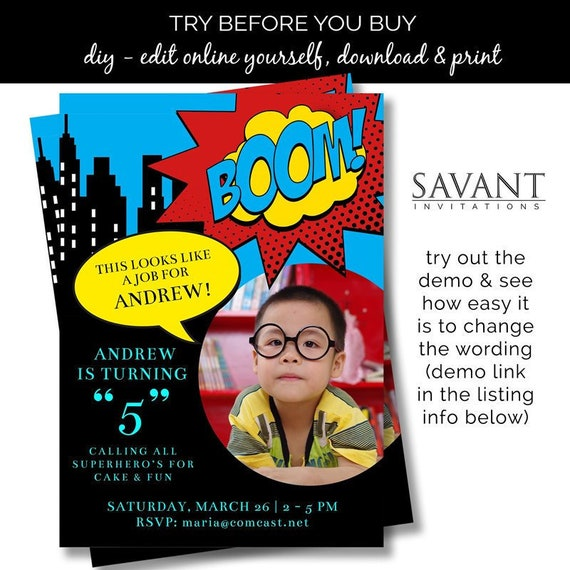 Super Hero Party Invitation Card Boys Birthday Invitation Girls Birthday Invitation 5x7 Diy Editable And Printable Card Bi10
