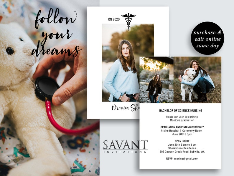 printable photo grad card; NGA2 Nurse Graduation Announcement Card; Nursing Graduation Invitation; 5x7 editable