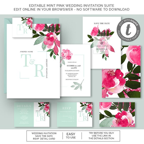 mint pink floral watercolor wedding invitation rsvp save the etsy