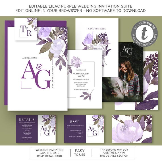 lilac purple floral watercolor wedding invitation rsvp save etsy
