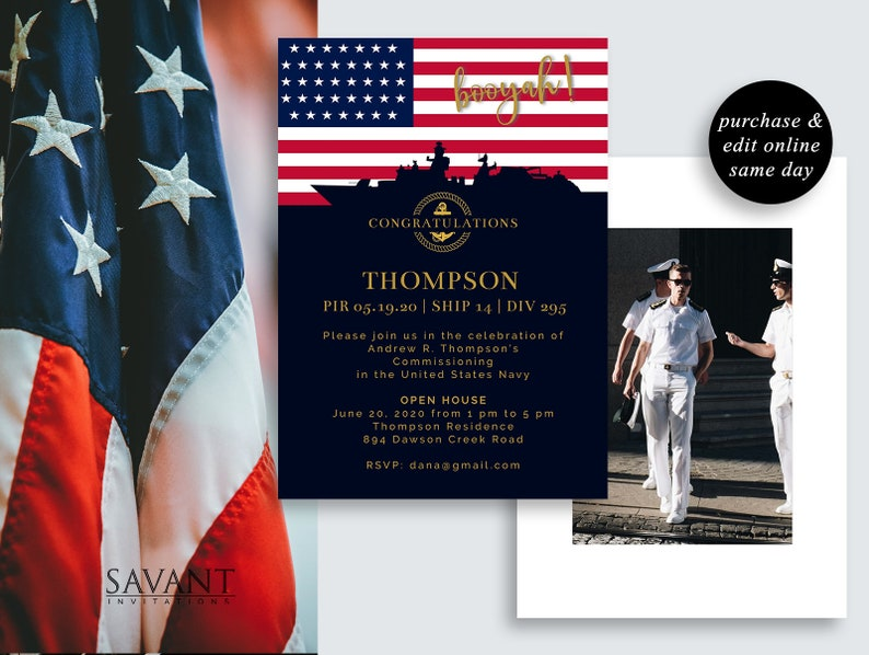 Navy Commissioning Announcement Card, Navy Promotion Announcement,  Printable, Editable, Military Graduation Card, USN1