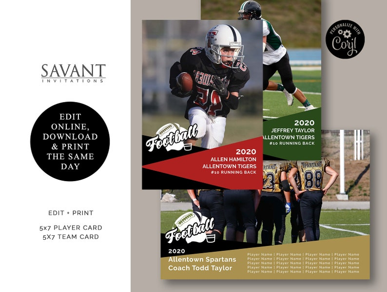 Personalize Corjl FPC1 You Edit and Print Sports Football Player Team Sports Card 5x7 Sports Card
