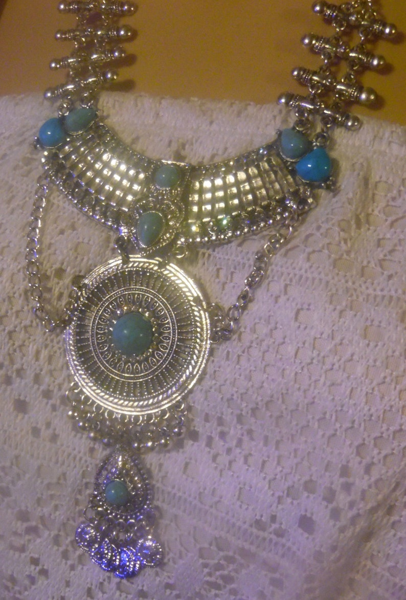 Vintage Boho Silver Turquoise Crystal Layered Statement Necklace