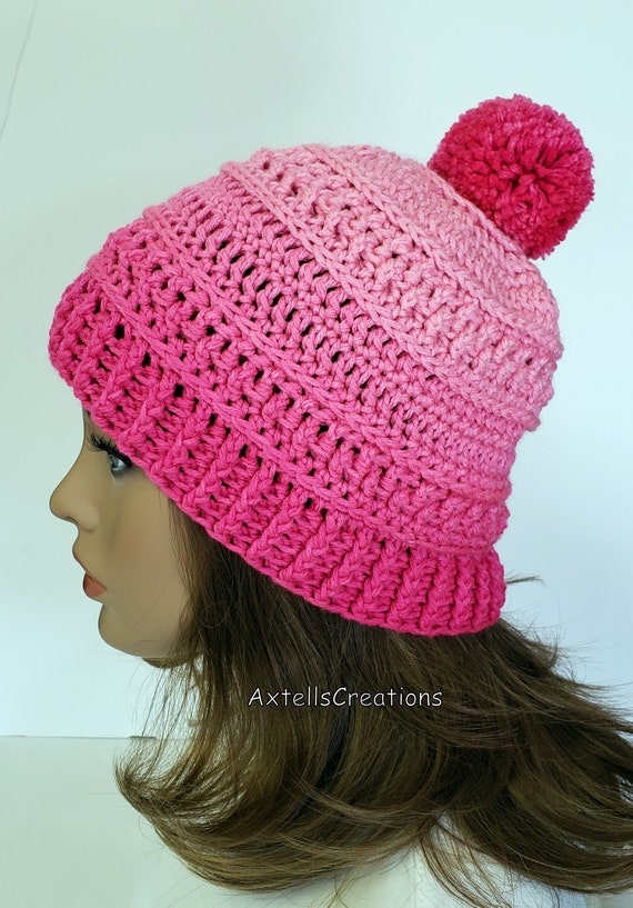 Pink Ombre Winter Hat with Pom Pom Crochet Womens Winter Ski  cba3b313aa0a