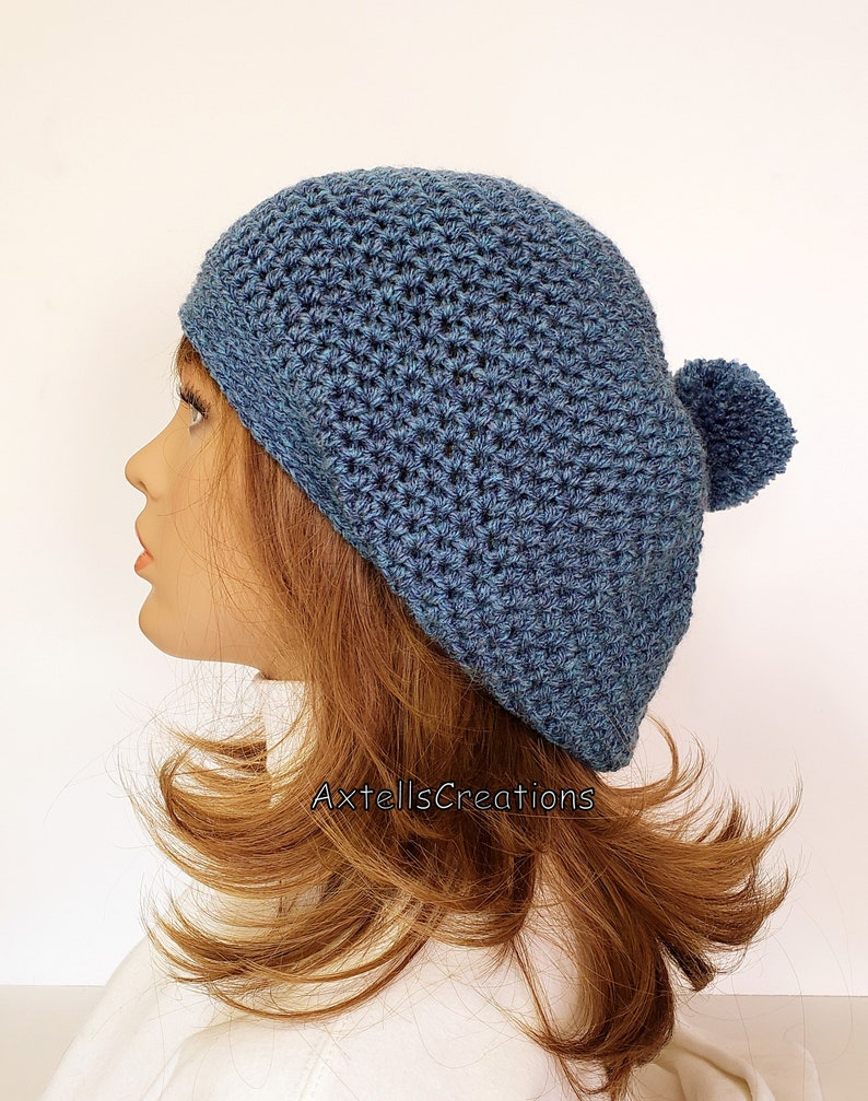 25f000b345a Blue Slouchy Hat with Pom Pom Crochet Mens Winter Grunge Hat