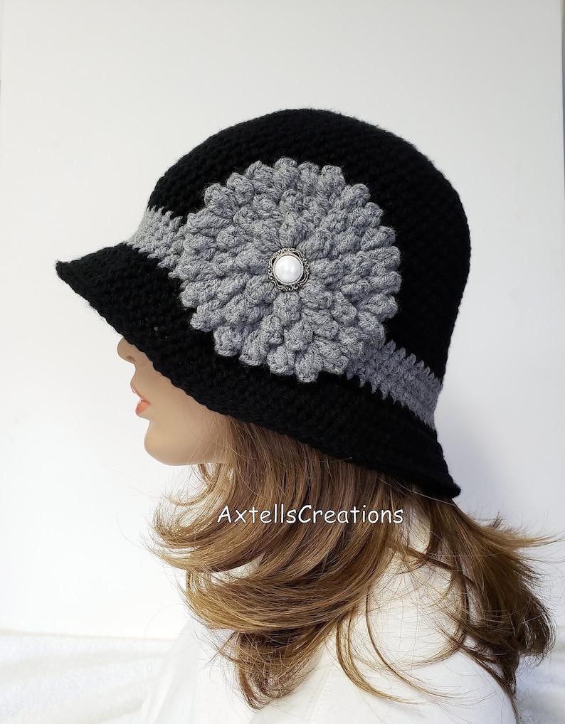 e536f0da83cfaa Black Womens 1920s Flapper Cloche Hat Crochet Womens Vintage | Etsy
