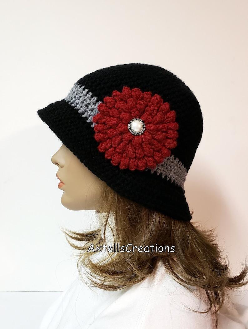 a92e85fd Black Crochet 1920s Flapper Cloche Bucket Hat Vintage Style   Etsy