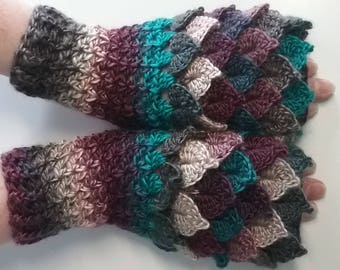 Maroon Crochet Dragon Gloves, Fingerless Gloves, Mermaid Gloves, Dragon Scale Mittens, Wrist Warmers, Cuff Texting Gauntlets Knit Gloves