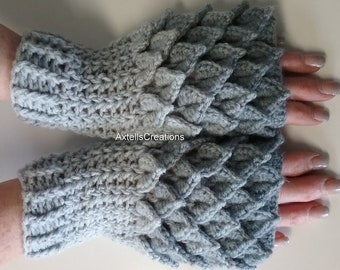 Gray Crochet Dragon Gloves, Fingerless Gloves, Mermaid Gloves, Dragon Scale Mittens, Wrist Warmers, Cuff Texting Gauntlets Knit Gloves